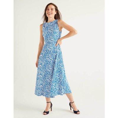 Clarissa Midi Dress Bold Blue, Fern Swirl Women Boden, Bold Blue, Fern Swirl