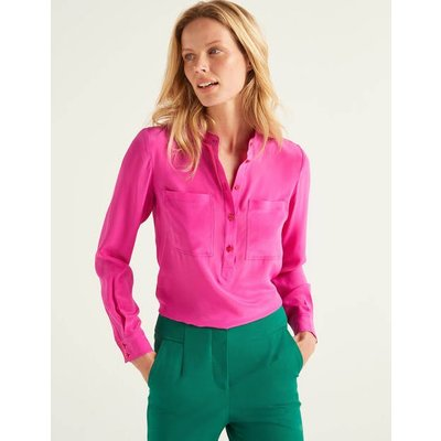 Silk Collarless Blouse Pink Women Boden, Multicouloured