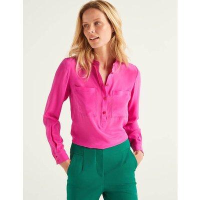 Silk Collarless Blouse Pink Women Boden, Multicouloured