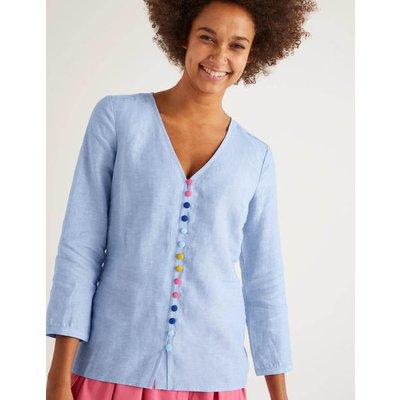 Cecilia Linen Blouse Blue Women Boden, Blue