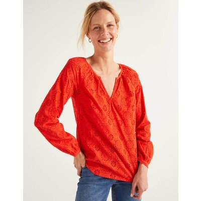Priscilla Broderie Blouse Orange Women Boden, Orange