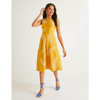 Fenella Embroidered Dress Yellow Women Boden, Yellow