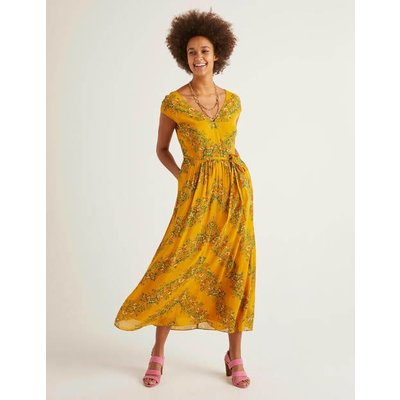 Fiona Midi Dress Yellow Women Boden, Yellow