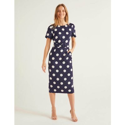 Hazel Belted Linen Dress Navy Women Boden, Navy