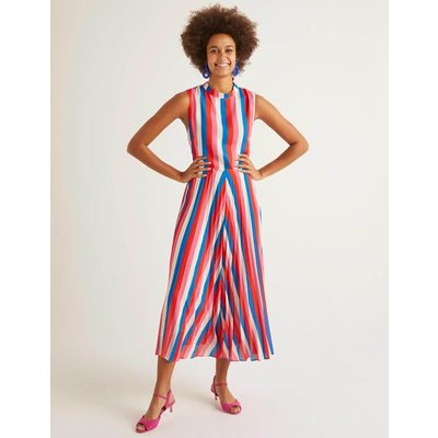 Jocelyn Pleated Midi Dress Bold Blue, Camellia Stripe Women Boden, Bold Blue, Camellia Stripe