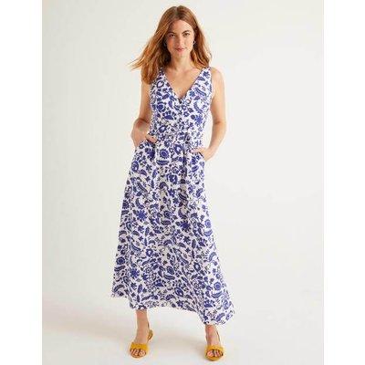 Livia Linen Maxi Dress Ivory Women Boden, Blue