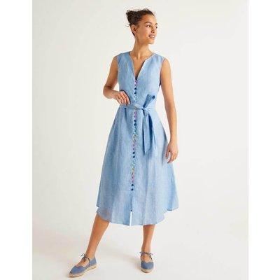 Cecilia Linen Dress Blue Women Boden, Blue