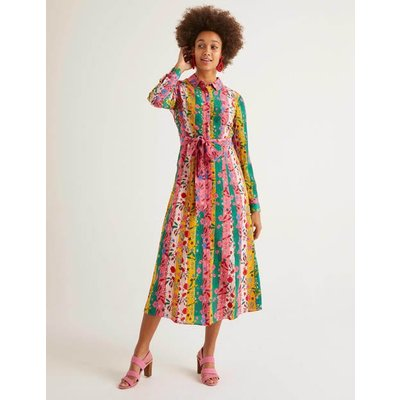 Orella Silk Shirt Dress Bright Camellia, Garden Charm Women Boden, Bright Camellia, Garden Charm