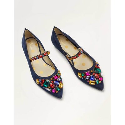 Amy Embellished Flats Navy Christmas Boden, Multicouloured