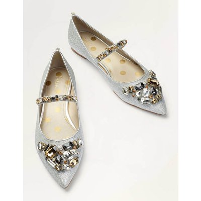 Amy Embellished Flats Silver Christmas Boden, Silver
