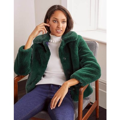 Elsted Faux Fur Jacket Green Christmas Boden, Green
