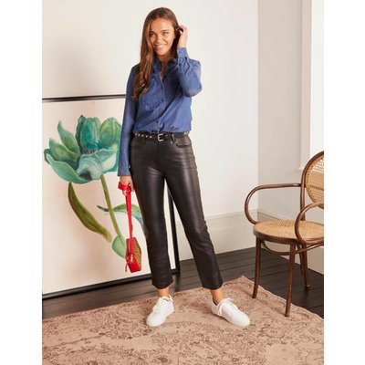 Grosvenor Leather Trousers Black Women Boden, Black
