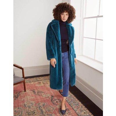 Kenilworth Faux Fur Coat Blue Christmas Boden, Blue