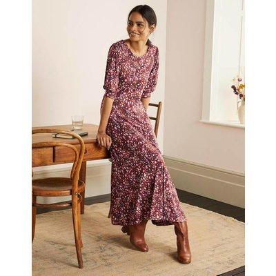 Caitlin Jersey Midi Dress Brown Women Boden, Leopard
