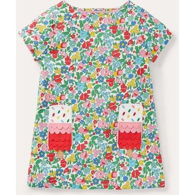 Summer Appliqué Pocket Tunic Multi Ditsy Floral Ice Cream Boden, Multi Ditsy Floral Ice Cream
