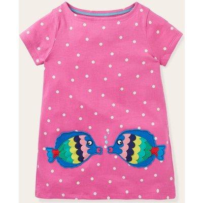 Summer Appliqué Pocket Tunic Tickled Pink Spot Fish Boden, Tickled Pink Spot Fish