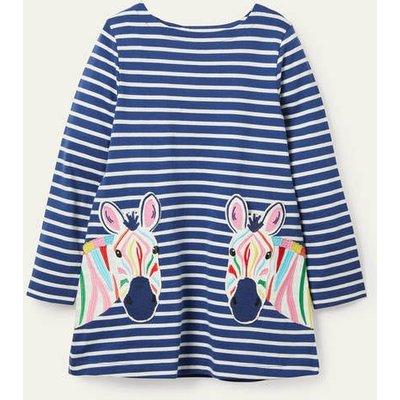 Appliqué Pocket Tunic Starboard Blue/ Ivory Zebra Boden, Starboard Blue/ Ivory Zebra
