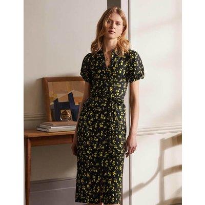 Puff Sleeve Jersey Shirt Dress Black, Floral Sprig Boden, Black, Floral Sprig