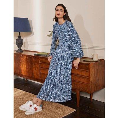 Embroidered Jersey Midi Dress Galaxy Blue, Cheetah Geo Boden, Galaxy Blue, Cheetah Geo