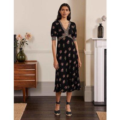 Eva Jersey Midi Dress Black, Delicate Sprig Women Boden, Black, Delicate Sprig