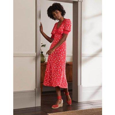 Eva Jersey Midi Dress Cherry Red, Floral Sprig Women Boden, Cherry Red, Floral Sprig