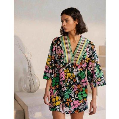Wide Sleeve Cotton Kaftan Black, Jungle Floral Women Boden, Black, Jungle Floral
