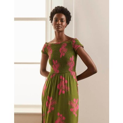 Angelica Smocked Midi Dress Pea, Jungle Bouquet Women Boden, Pea, Jungle Bouquet