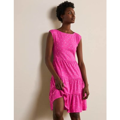 Romaine Tiered Jersey Dress Party Pink and Gold, Polka Dot Women Boden, Party Pink and Gold, Polka Dot