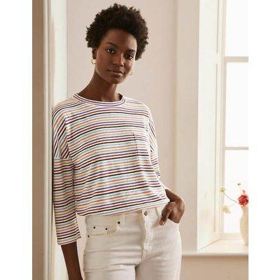 Ottilie Linen Jersey Top Metallic Rainbow Multi Stripe Women Boden, Metallic Rainbow Multi Stripe