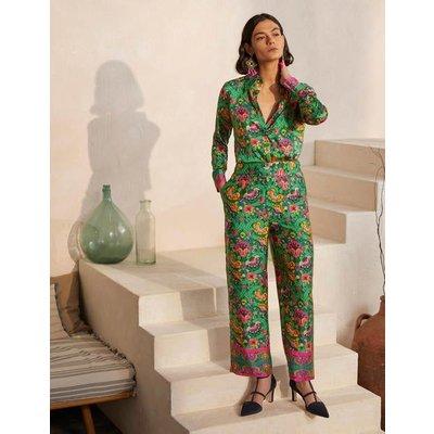 Rosa Trousers Highland Green, Opulent Bloom Women Boden, Highland Green, Opulent Bloom