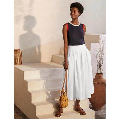 Lydia Linen Pleated Skirt White Women Boden, White