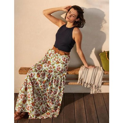 Lorna Tiered Maxi Skirt Ivory, Summer Chintz Women Boden, Ivory, Summer Chintz