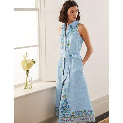 Kate Linen Shirt Dress Moroccan Blue Stripe Women Boden, Moroccan Blue Stripe