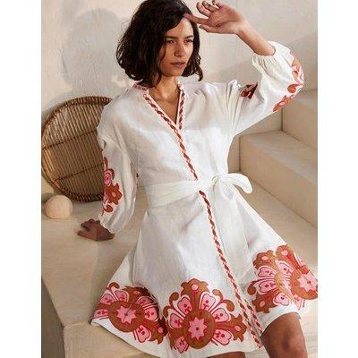 Amber Embroidered Linen Dress White Women Boden, White