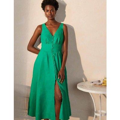Jemima Linen Midi Dress Highland Green Women Boden, Highland Green