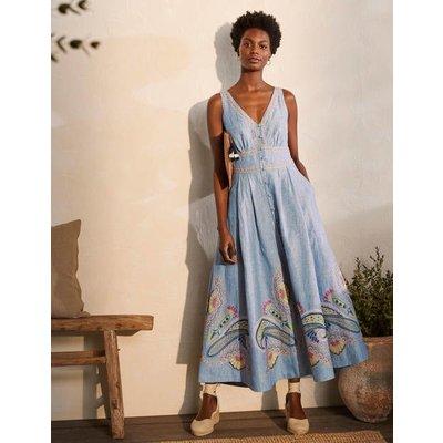 Jemima Linen Midi Dress Grey Blue Chambray Women Boden, Grey Blue Chambray