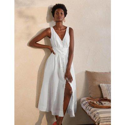 Jemima Linen Midi Dress White Women Boden, White