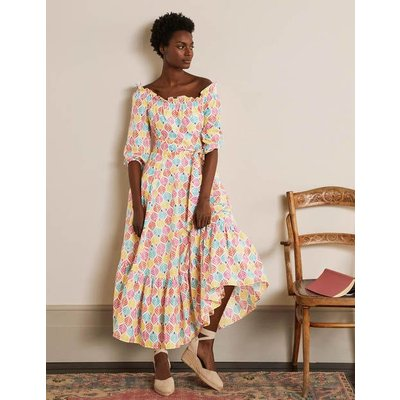 Rosalind Tiered Midi Dress Ivory, Palm Tile Multi Women Boden, Ivory, Palm Tile Multi