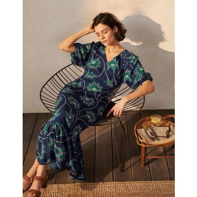 Claire Tiered Maxi Dress Navy, Ornate Floral Vine Women Boden, Navy, Ornate Floral Vine