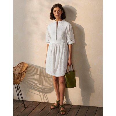 Broderie Cotton Dress White Women Boden, White