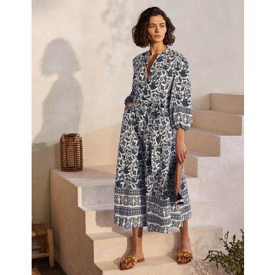 Addie Linen Midi Dress Ivory, Meadow Flight Women Boden, Ivory, Meadow Flight