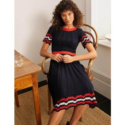Agnes Pointelle Dress Navy Women Boden, Navy