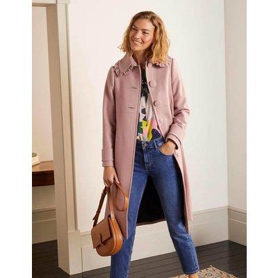 Ruffle Collar Coat Pale Pink Women Boden, Pale Pink