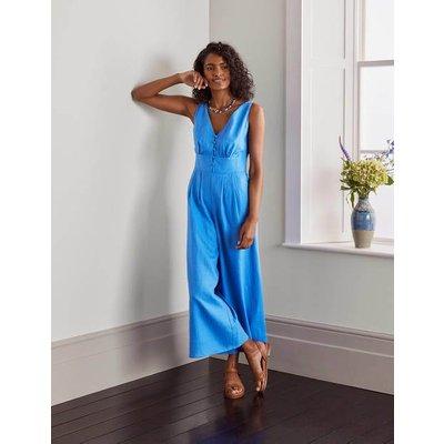 Jemima Linen Jumpsuit Marina Blue Women Boden, Marina Blue