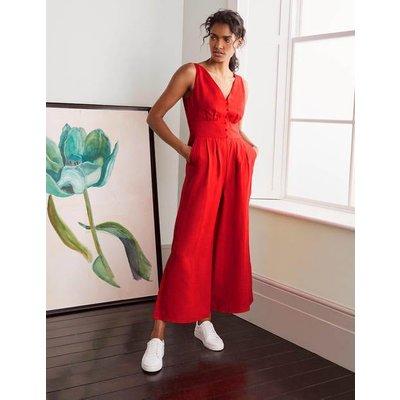 Jemima Linen Jumpsuit Cherry Red Women Boden, Cherry Red