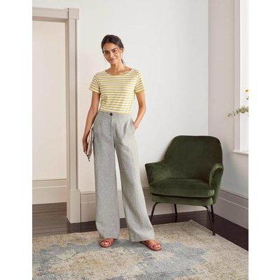 Eldon Linen Trousers Grey Women Boden, Grey