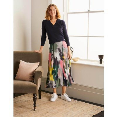 Louisa Pleated Midi Skirt Grey Squirrel, Pressed Bloom Women Boden, Grey Squirrel, Pressed Bloom