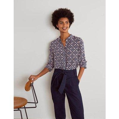 The Silk Shirt Navy, Ornate Lattice Women Boden, Navy, Ornate Lattice