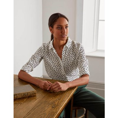 The Silk Shirt Ivory and Navy,  Dot Women Boden, Ivory and Navy,  Dot