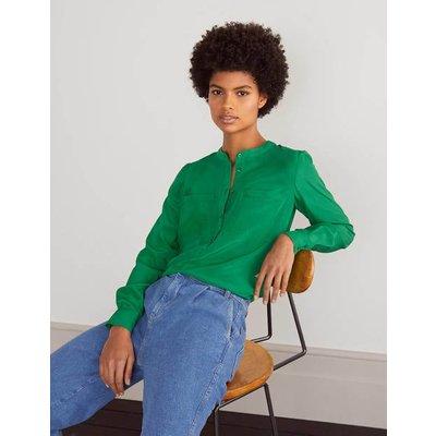 Silk Collarless Blouse Green Women Boden, Green